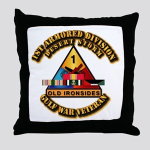 Army - DS - 1st AR Div Throw Pillow